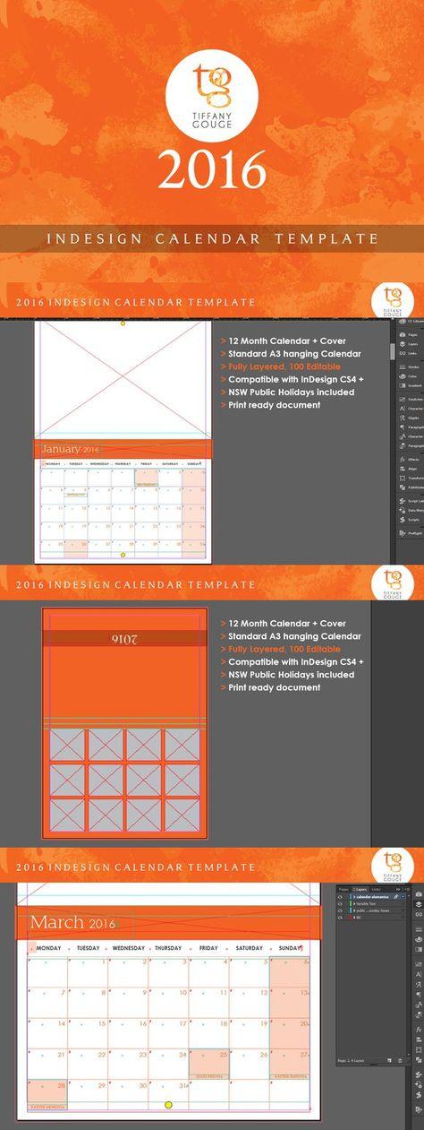 Calendar Template 2017 (InDesign) | Pinterest | Calendar template ...