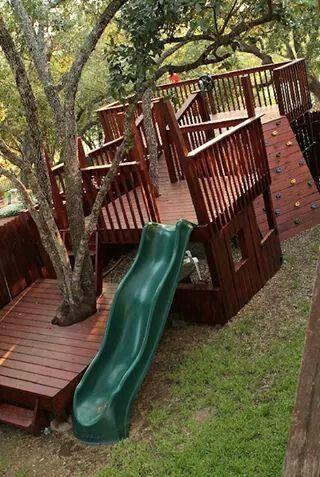 Simple Backyard Fort Plans Fresh Playhouse Built Around Trees In 2020 Backyard Fort Backyard Playground Backyard