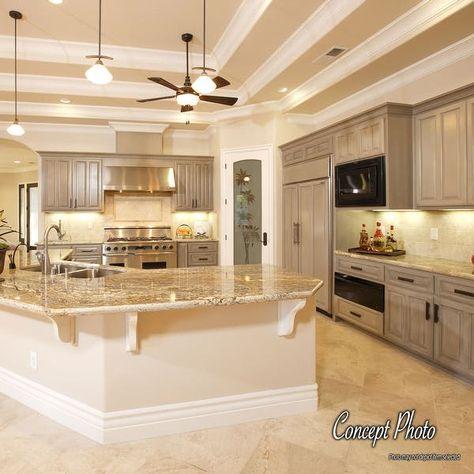 Grey Kitchen Cabinets, Big Kitchen, Home Decor Kitchen, Home Kitchens, Gray Kitchens, Kitchen Islands, Kitchen Backsplash, Kitchen With Brick, Kitchen With Corner Pantry