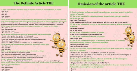 The Definite Article THE in English | Grammar Rules - ESLBuzz Learning English