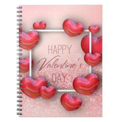 Valentine\'s Day Red Hearts Glitter - Notebook - valentines day ...
