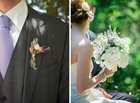 A simple, rustic boutonniere with tiny flower buds.