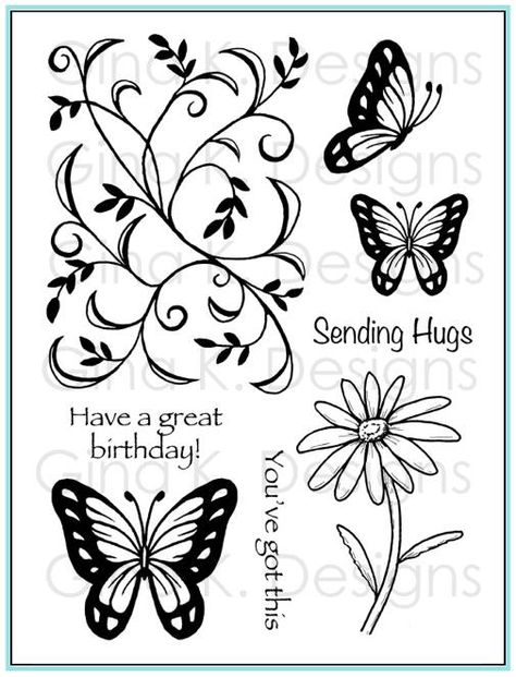 """""""Vine & Butterfly"""" stamp set from Theresa Momber for Gina K Designs featured in the September StampTV Release Party."""