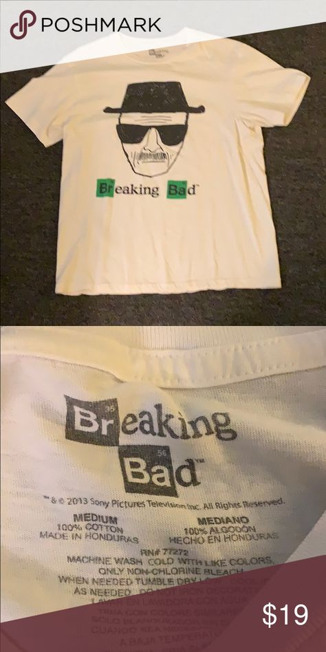 Breaking bad tee shirt Breaking bad tee shirt. It is white in color and in good condition. Good for you breaking bad fans! breaking bad Shirts Tees - Short Sleeve