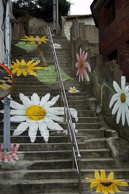 walking on flowers...cool stair art