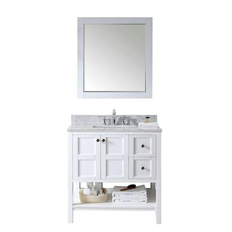 virtu usa winterfell 36 in vanity in white with marble vanity top in italian carrara white and mirror