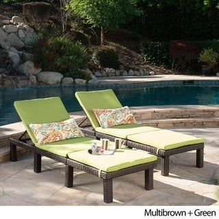 Jamaica Outdoor Chaise Lounge With Cushion Set Of 2 By Christopher Knight Home In 2020 Pool Furniture Outdoor Furniture Sets Green Cushions
