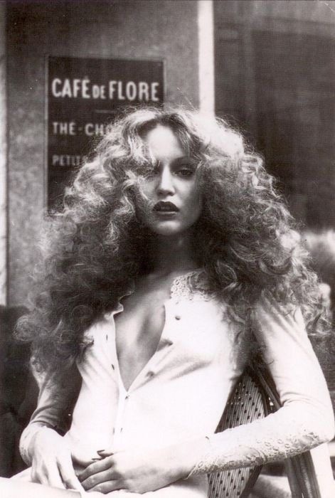 That hair of Jerry Hall in the 1970s at the Cafe de Flore