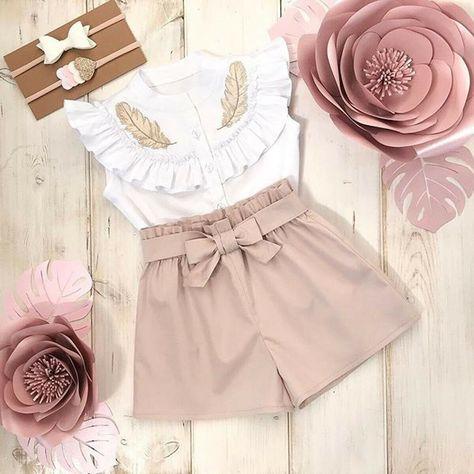 Sleeveless Button Dress Set Outfits Toddler Kid Baby Girl Long Ruffle Sleeve Shirt Top
