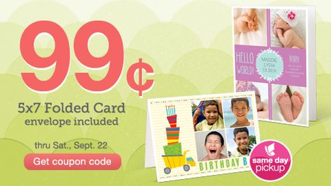 99 Cent 5x7 Folded Cards from Walgreens
