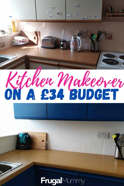 Buying a new kitchen isn't always the answer if you want it to look good. Look at the kitchen makeover that I did just on my own and spend only £34! #kitchenmakeover #kitchenmakeoveronbudget #spendlittlemakeover #budgetmakeover #DIYkitchenmakeover #frugalliving