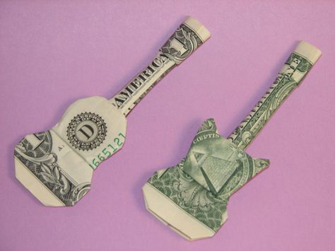 In this video I will show you step by step how to fold this Dollar Origami Guitar. All you need is a single dollar bill. Oragami Money, Money Lei, Origami With Money, Money Rose, Money Cards, Paper Crafts Origami, Origami Paper, Origami Ideas, Origami Folding