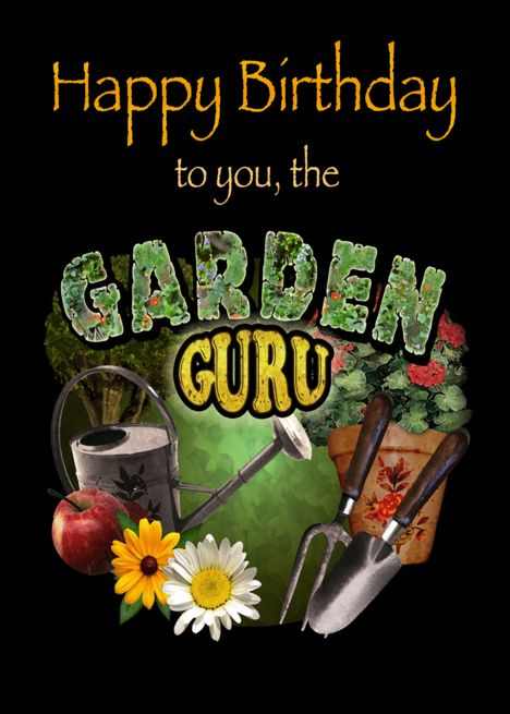 Happy Birthday Garden Guru Card Ad Sponsored Birthday