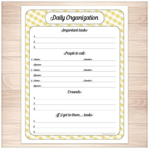 Yellow Printable Daily Task Sheet - Yellow Gingham Full page - Daily