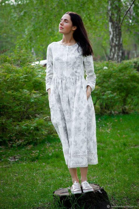 aeae8a589ea3 Платья ручной работы. Ярмарка Мастеров - ручная работа. Купить Летнее белое  платье. Handmade. Белый, хлопко-лён