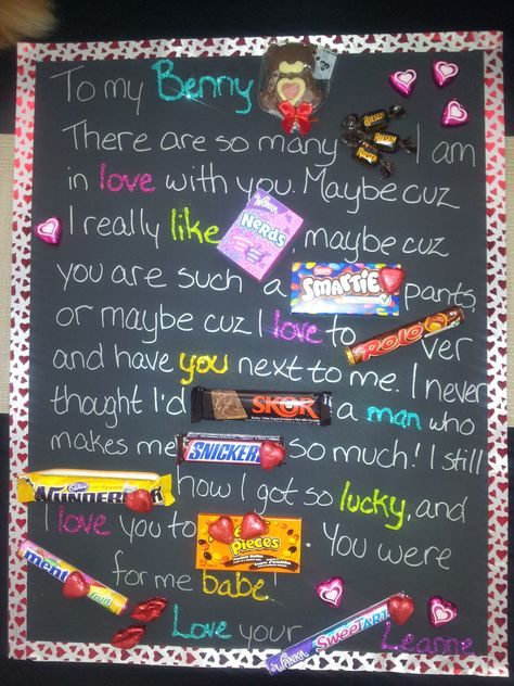 My Valentine's Candy Love Letter made using black poster board, silver sharpie and glitter glue.