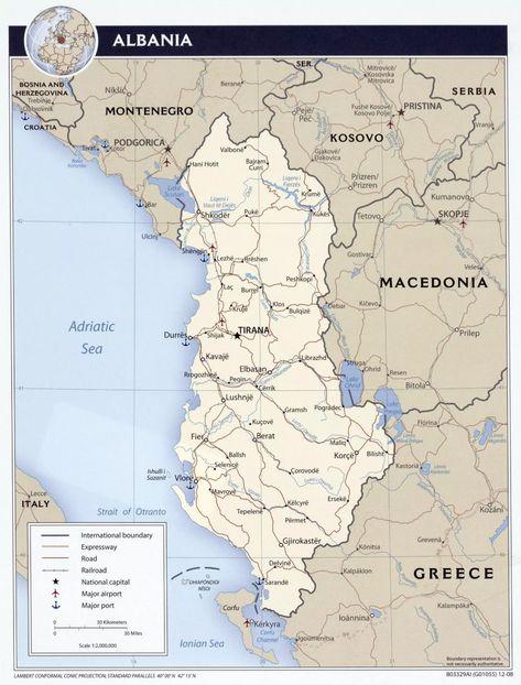 Albanie Mapa Mapy Ke Stazeni Pdf Na Mape Albania
