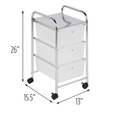 Honey Can Do Compact Steel 3 Drawer Rolling Cart Chrome Clear Walmart Com In 2020 Plastic Storage Drawers Storage Cart Plastic Drawers