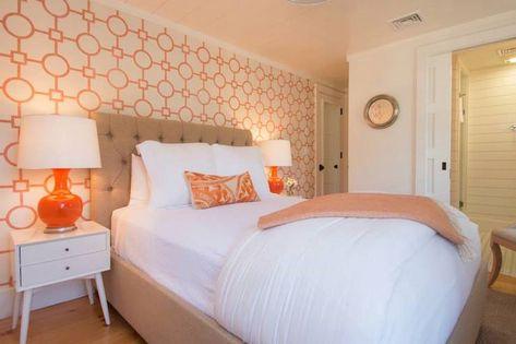 Nina Liddle Design - bedrooms - Phillip Jeffries Union Square Wallpaper,  West Elm Mid Century Nightstand, orange ceramic table lamps, orange.