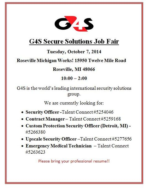 Macomb St Clair Michigan Works -G4S Secure Solutions - Job Fair - g4s security officer sample resume
