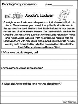 Jacob S Ladder Reading Comprehension Worksheet Bible Study Curriculum Reading Comprehension Worksheets Bible Study Curriculum Comprehension Worksheets