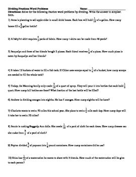 Dividing Fractions And Whole Numbers Word Problems Dividing