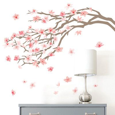 Pink Cherry Blossom Tree Wall Decal Cherry Blossom Wall Art Tree Wall Painting Cherry Blossom Decor
