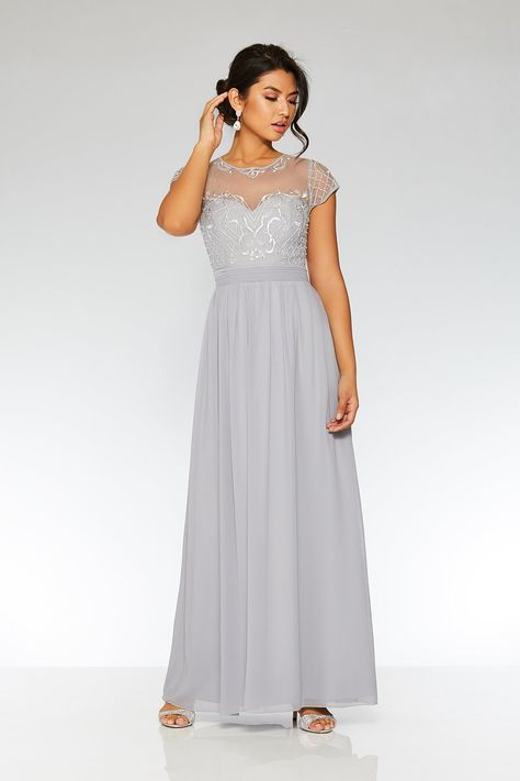 Grey Chiffon Cap Sleeve Maxi Dress