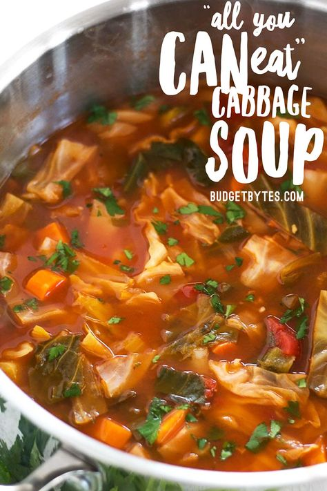 Forget the cabbage soup diet, you'll want to eat this super healthy vegetarian cabbage soup just because it tastes incredible! Freezer friendly. Budgetbytes.com #cabbagesoup #healthy #healthyrecipes #healthyfood #healthyeating #healthyliving #soup #souprecipe #vegetarianrecipes #vegetariancooking #veganrecipes #veganfood
