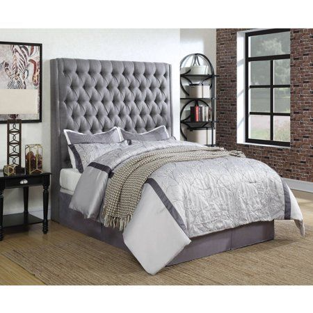 Coaster Company Camille Upholstered Queen Headboard Grey Fabric Coasterfurniture Upholstered Panel Bed Queen Upholstered Bed Upholstered Headboard