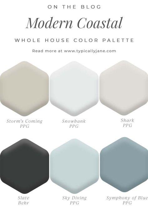 Coastal Paint Colors, Modern Paint Colors, Modern Color Palette, Paint Colors For Home, Design Palette, Modern House Colors, Aqua Color Palette, Exterior Color Palette, Neutral Palette