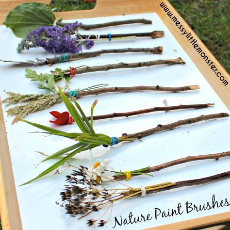 Nature Paint Brushes.  A fun outdoor art activity for kids. Easy enough for toddlers and preschoolers (EYFS). Summer process art.