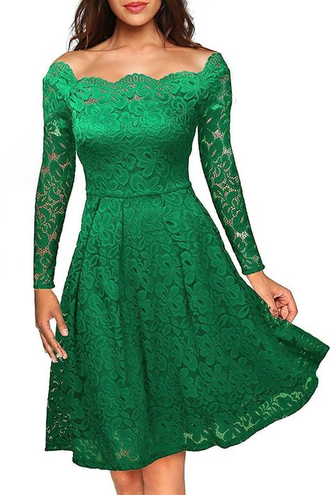 d8295a01134 Robes Dentelles Cocktail Vert Manches Longues Plisse Pas Cher  www.modebuy.com  Modebuy  Modebuy  Vert  style  gros  sexy