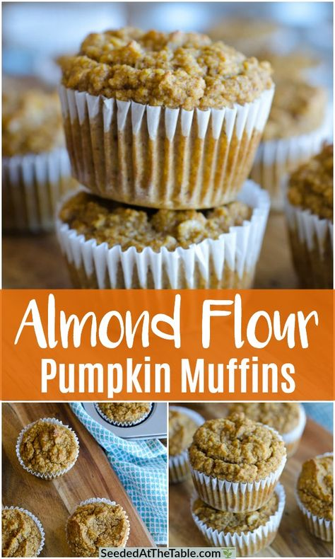 These easy Almond Flour Pumpkin Muffins are low-carb, gluten free and include no refined sugars. Using only one bowl, these Paleo pumpkin muffins are sweetened naturally and can be frozen for a convenient breakfast! Muffins Sans Gluten, Paleo Pumpkin Muffins, Almond Flour Muffins, Baking With Almond Flour, Almond Flour Recipes, Gluten Free Pumpkin, Healthy Muffins, Gluten Free Baking, Almond Flour Desserts