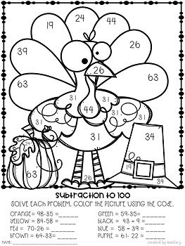 2 Digit Addition And Subtraction 7 Coloring By Number Quilt Patterns Coloring Pages Thanksgiving Crafts For Kids