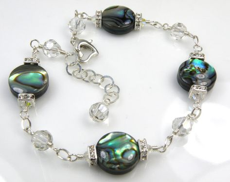 Abalone Bracelet Teal Shell Jewelry Paua Shell от fineheart