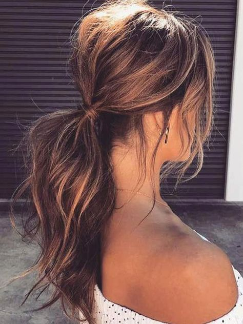 30 Ways to Style Brown Medium Length Hair: Stunning Medium Length Brunette Hairstyles and the prettiest brown medium length hairstyles. Check out these medium length brunette hairstyles and see how to style your medium length hair! Messy Ponytail Hairstyles, Long Face Hairstyles, Hairstyles For School, Weave Hairstyles, Brunette Hairstyles, Gorgeous Hairstyles, Loose Ponytail, How To Do Hairstyles, Trendy Hairstyles