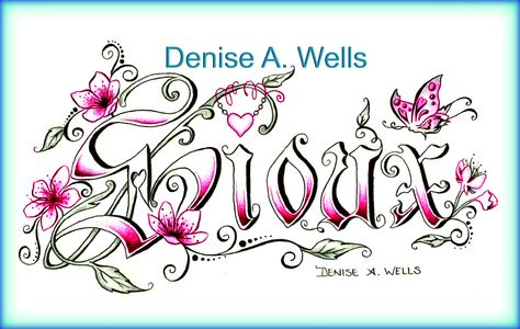 """Sioux"" Tattoo Design by Denise A. Wells. This lettering tattoo design includes Cherry Blossoms, leaves, hanging heart charm, butterfly and filigree..."