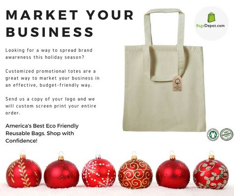 7d9aa45aa55 Customized promotional totes are a great way to market your business. Send  us your logo and we ll custom screen print your order ✨ More info  ...
