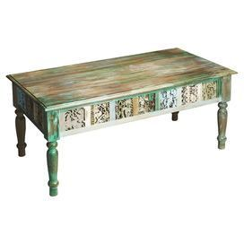 Showcasing An Intricately Carved Apron And Hand Painted Finish This Upcycled Wo Furniture Choices Apr Coffee Table Wood Coffee Table Furniture Choice