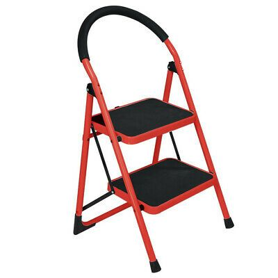 2 Step Ladder Folding Stool Heavy Duty Industrial Lightweight 300lbs Capacity In 2020 Folding Stool Metal Step Stool Step Ladders