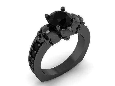Skull Engagement Ring 14K White 1 Ct Center Stone, UDINC0331