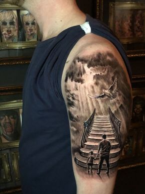 Can You Get Into Heaven With Tattoos Stairway To Heaven Tattoo By Stefan Limited Availability At Salvation Tattoo Studios Heaven Tattoos Stairway To Heaven Tattoo Stairs To Heaven Tattoo