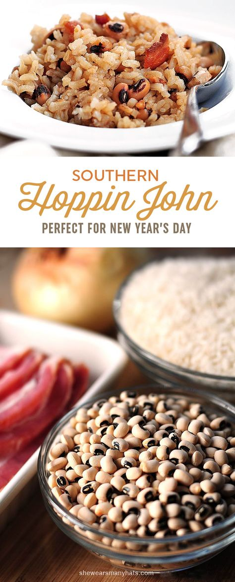Hoppin John, a traditional southern dish enjoyed each year on New Year's Day, is made of black-eyed peas, rice, and flavored with pork. | shewearsmanyhats.com