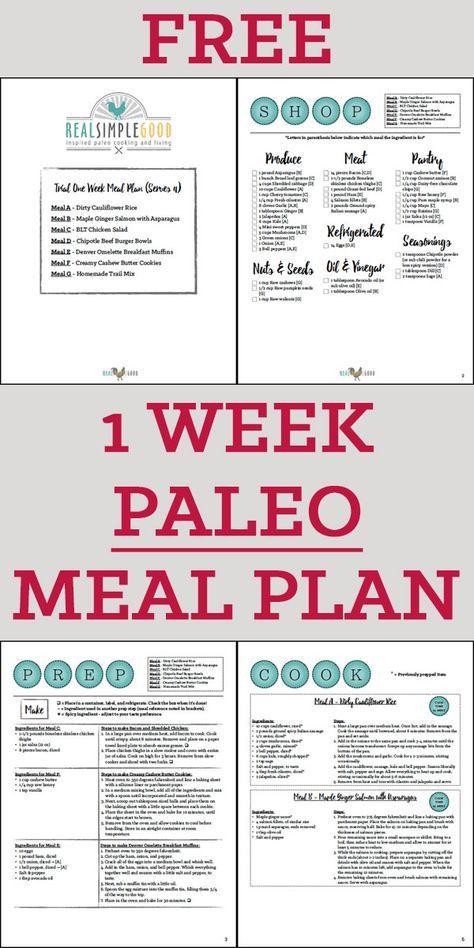 Free One Week Paleo Meal Plan Paleo Meal Plan Ketogenic Diet Meal Plan Starting Paleo Diet