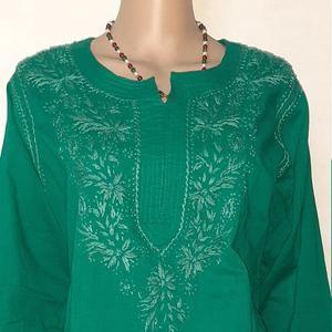 Indian Cotton Long Lucknowi Chikankari Embroidery Work kurta Shirt tunic White Dress Party Suit Festival Top Christmas Gift Kurti For Women