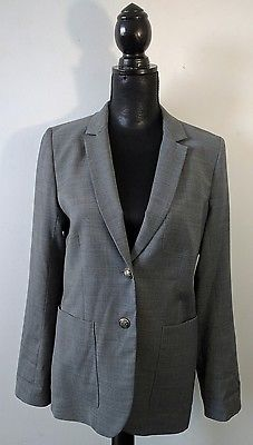 Ladies Talula Babaton Wool Gray Gold Buttons Blazer Jacket