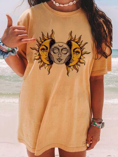 Fashion Casual Printed Short Sleeve Long T-shirt - yellow, M