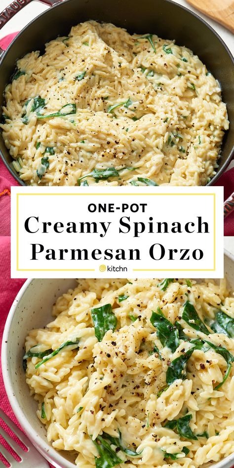 Creamy Spinach Parmesan Orzo A recipe for quick and easy creamy orzo pasta made with spinach and Parmesan cheese. It's a perfect vegetarian dinner or simple side side. - One Pot Spinach and Parmesan Orzo Dinner Recipe dinner Creamy Spinach Parmesan Orzo Parmesan Orzo, Parmesan Recipes, Orzo Pasta Recipes, Pasta Dishes, Recipes With Orzo Noodles, Recipes With Orzo Pasta And Chicken, Orzo Pasta Salads, Chicken Orzo Pasta, Risoni Recipes