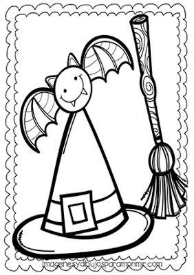 Dibujo De Gorro De Bruja Escoba Y Gato En Halloween Para Colorear Art Character Fictional Characters